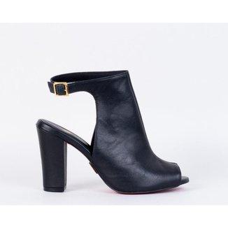 Ankle Boot Salto Bloco 9cm Sola Couro CBK Feminina
