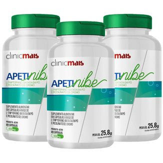 Apetinibe - L-Triptofano Batata em Pó e Picolinato de Cromo 60 caps 430 mg Kit com 3
