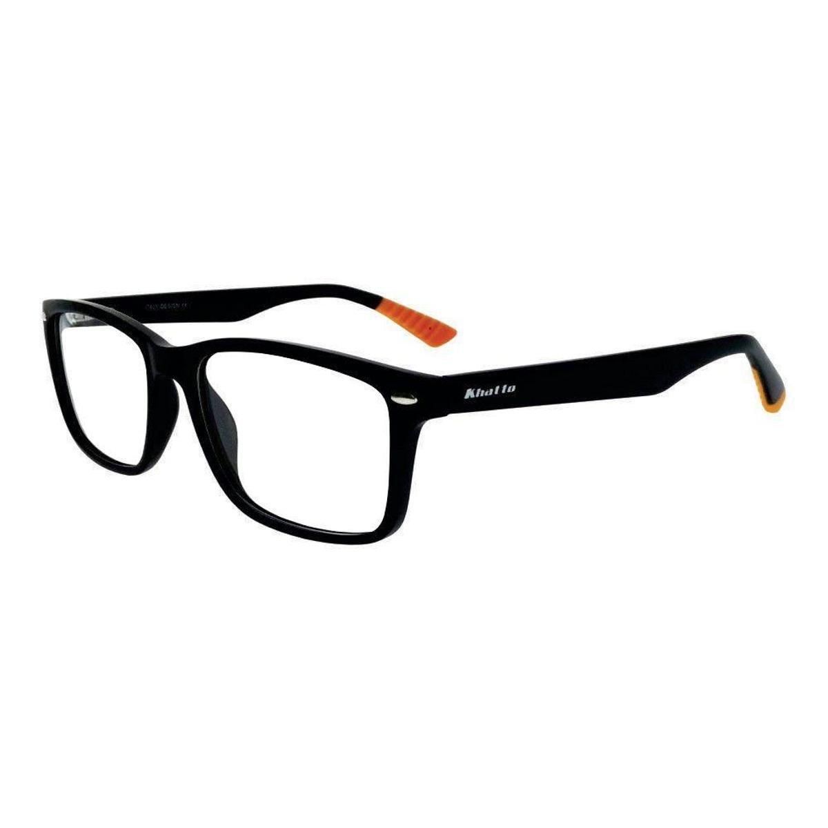 Armação óculos De Grau Khatto Haste Masculino Preto E Laranja