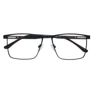 Armação Óculos De Grau Quadrado Casual Metal Marrom Izaker 8476