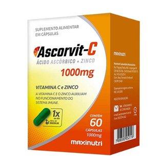 AscorVit Vitamina C 1000mg + Zinco 60 Capsulas Maxinutri