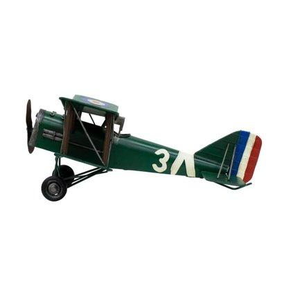 Avião Verde Asas Dupla Hélice 17x41.5x44.5cm Estilo Retrô - Vintage