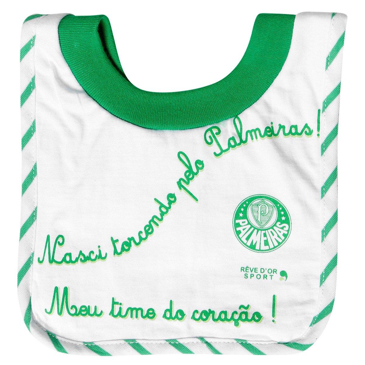 Babador Palmeiras Bebê Frase Verde E Branco
