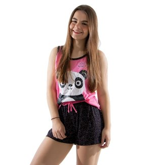 Baby Doll 4 Estações Pijama Panda Adulto Mãe Curto Verão Regata Conforto Feminino