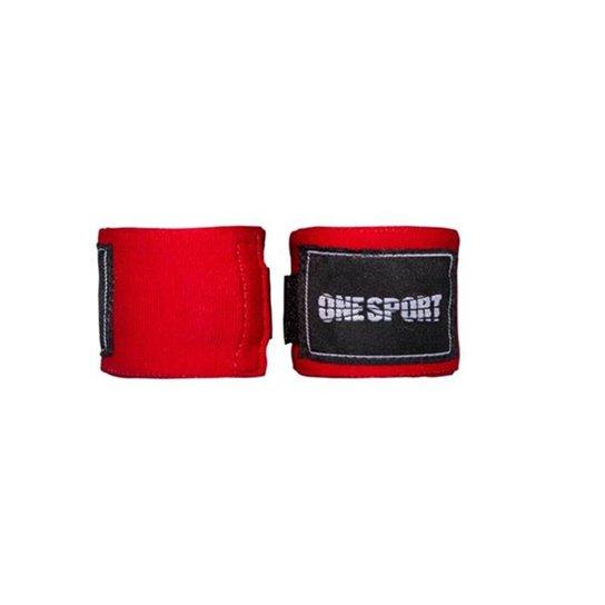 Bandagem Elastica One Sport Muay Thay Proteção 2,5mts - Vermelho