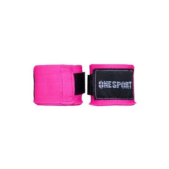 Bandagem Elastica One Sport Muay Thay Proteção 2,5mts - Rosa