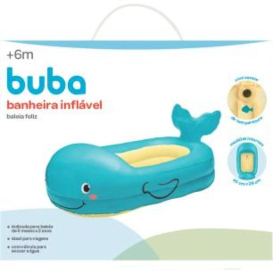 Banheira Inflável Baleia Feliz Buba Baby - Azul
