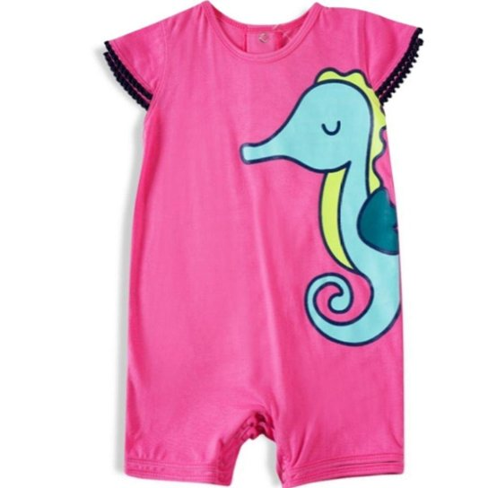 Banho de Sol Infantil Feminino Tip Top Cavalo Marinho - Rosa