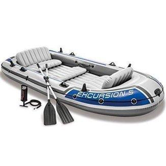 Barco Bote Inflável Excursion 5   Intex Remos E Bomba
