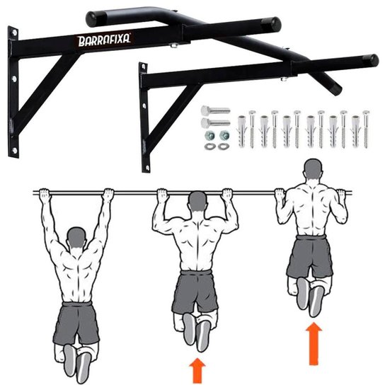 Barra Fixa Parede Crossfit Pull-up Chin-up Tríceps Paralelas - Preto