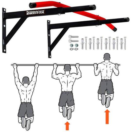 Barra Fixa Parede Crossfit Pull-up Chin-up Tríceps Paralelas - Vermelho