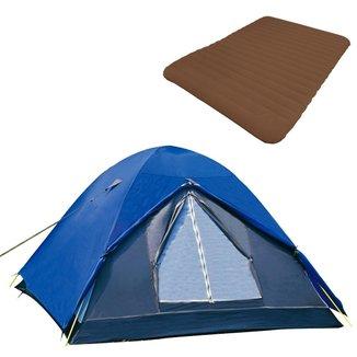 Barraca Camping Iglu Fox Nautika + Colchão Inflavel Casal Soft Sleep