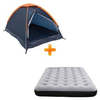 Barraca Camping Iglu Panda para 2 Pessoas - Nautika + Colchão Inflável de Casal Fit Ecologic