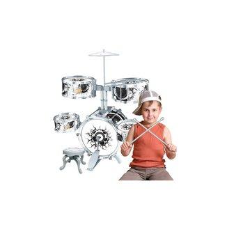Bateria Infantil Rock Party Completa Com Banco - Baqueta E Pedal - Dm Toys