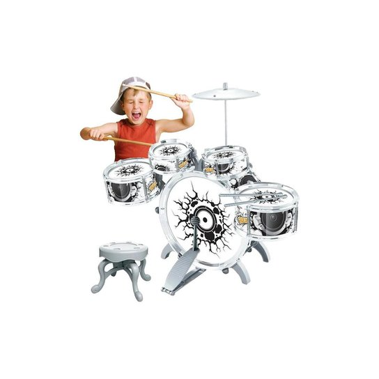 Bateria Infantil Rock Party Completa Com Banco Baqueta Pedal Unissex - Dm Toys - Incolor