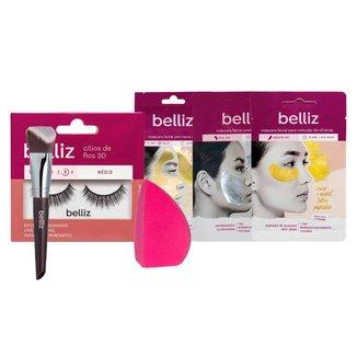 Belliz Kit - Cílios Postiços + Esponja + 3 Máscaras + Pincel 3D Multiangle Kabuki Kit