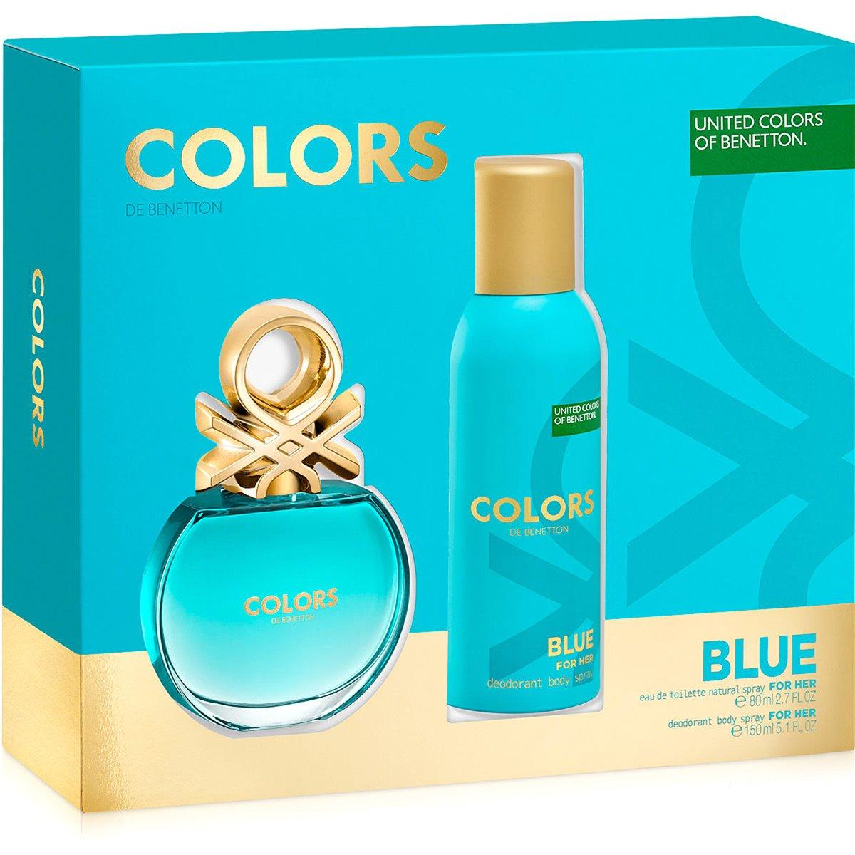 bc3df8ccdce Benetton Kit Perfume Feminino Colors Blue Est EDT 80ml + Desodorante 150ml  - Compre Agora