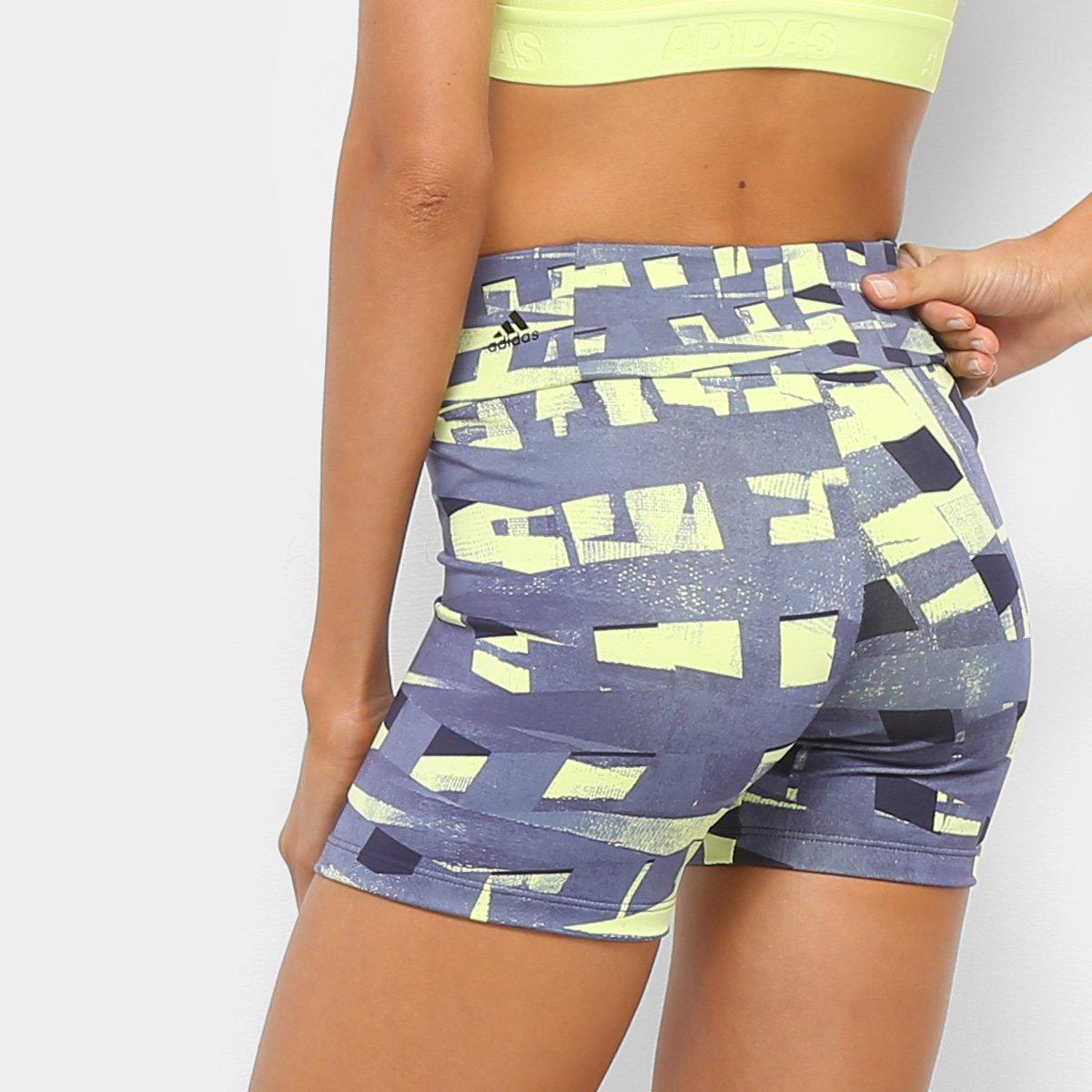 Bermuda Estampada Preto TechFit Bermuda Amarelo e Adidas Adidas Estampada Feminina TechFit Feminina FYqrgF