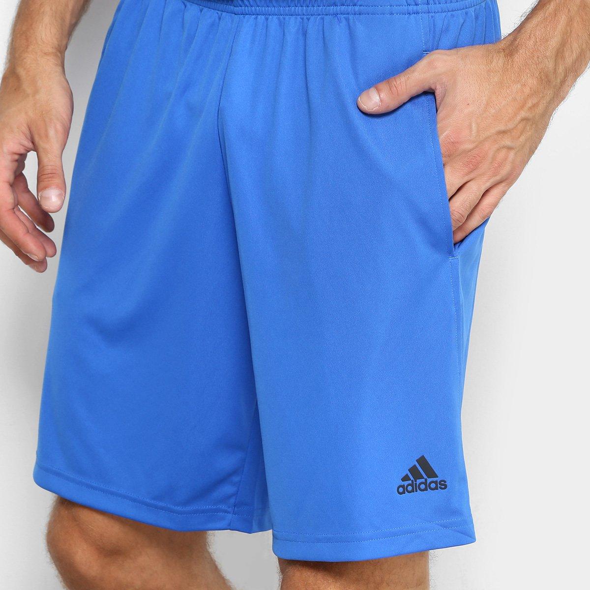 25f8b65416 Bermuda Adidas Plain Masculina - Azul e Preto - Compre Agora