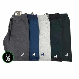 Bermuda de moletom masculina com bolso Kit 5 unidades vira lata wear