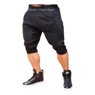 Bermuda De Moleton Masculina  Skinny Fitness-PRETO-P