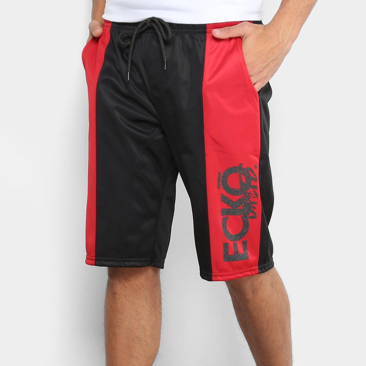 2744c4e4437 Bermuda Ecko Ber Active Masculina - Preto e Vermelho - Compre Agora ...