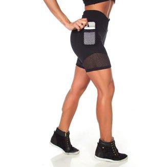 Bermuda Fitness Dily Com Bolso Feminina
