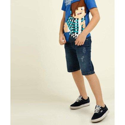 Bermuda Infantil Jeans Puídos Tam 4 A 8 - 10049443592