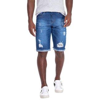Bermuda Jeans Com Barra Virada
