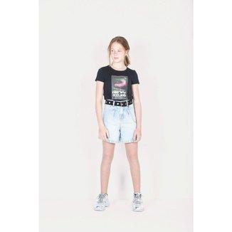 Bermuda Jeans Infantil Mom com Cinto - Dimy Candy