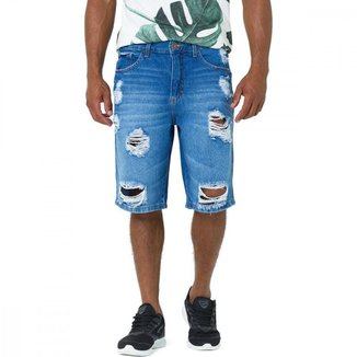 Bermuda Jeans Masculino Slim Jeans Liso