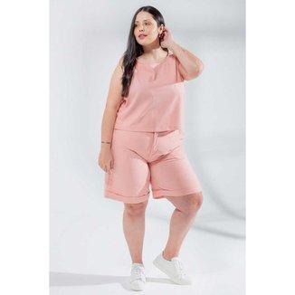 Bermuda Lisa Almaria Plus Size Miss Taylor Barra Dobrada