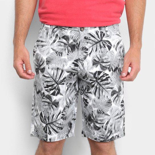 Bermuda Malwee Comfort Masculina - Branco+Preto