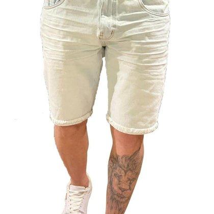 Bermuda Masculina Jeans Claro Com Bainha