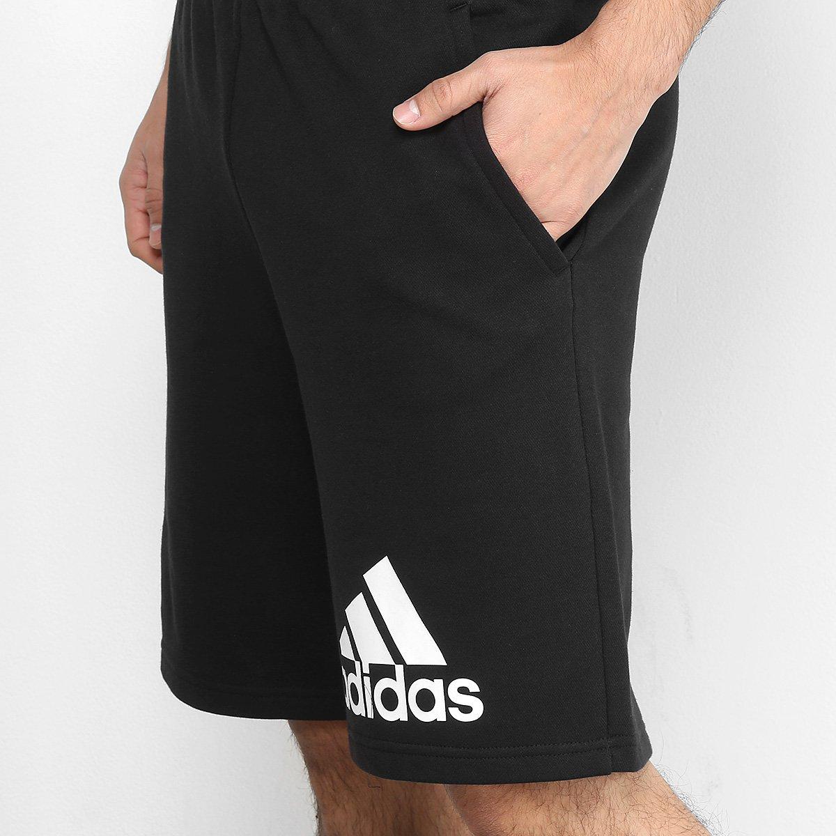Bermuda Moletom Adidas Knit Masculino - Preto e Branco - Compre ... 141c4e87ed061