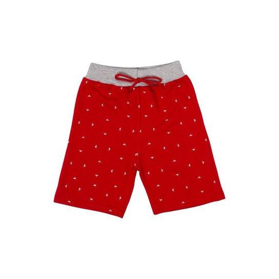 Bermuda Moletom Infantil Vermelha - Vermelho