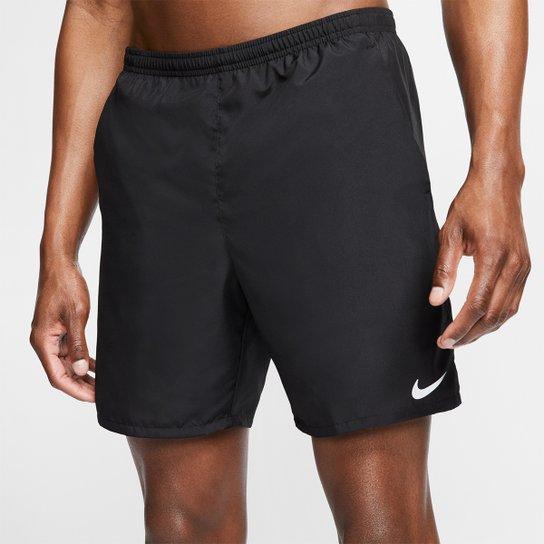 """Bermuda Nike Run 7"""" BF Masculina - Preto+Prata"""