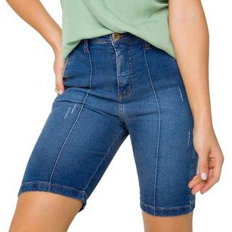 Bermuda Onça Preta Ciclista Push Up Jeans