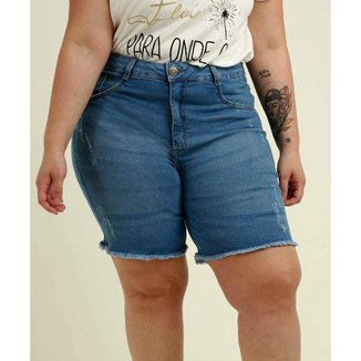 Bermuda Plus Size Feminina Jeans Puídos - 10048657280