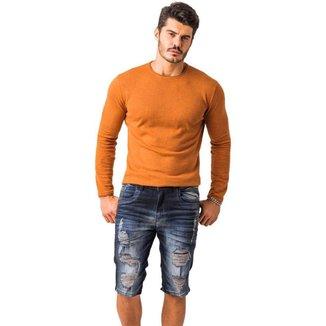 Bermuda Skinny Zune Jeans Masculina Destroyed Casual Macia