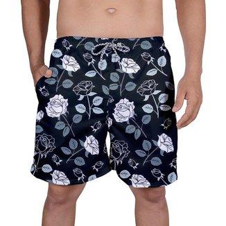 Bermuda Tactel Masculina Estampa Floral Verão Estiloso Praia