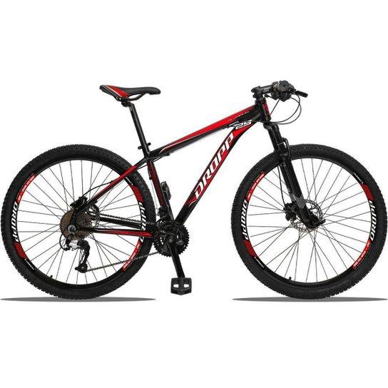 Bicicleta 29 Dropp Aluminum 27V Freio Hidráulico Câmbios GTA Cubo k7 - Preto+Vermelho