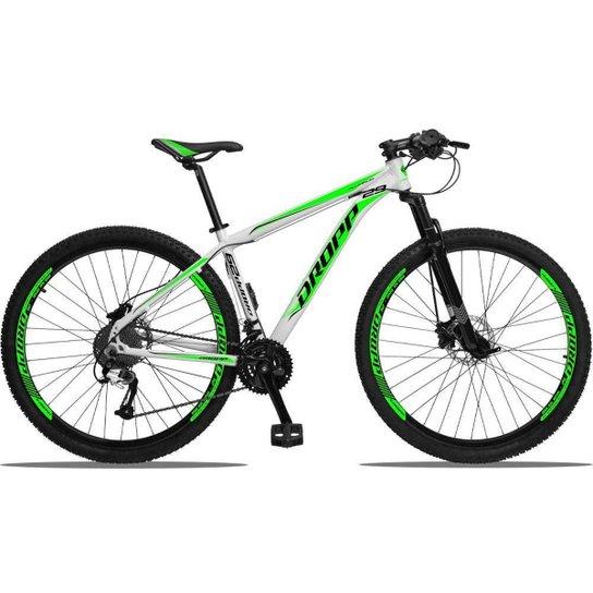 Bicicleta 29 Dropp Aluminum 27V Freio Hidráulico Câmbios GTA Cubo k7 - Branco+Verde