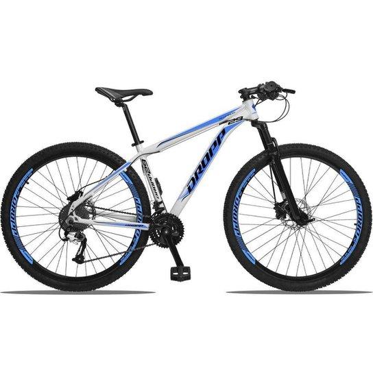 Bicicleta 29 Dropp Aluminum 27V Freio Hidráulico Câmbios GTA Cubo k7 - Branco+Azul