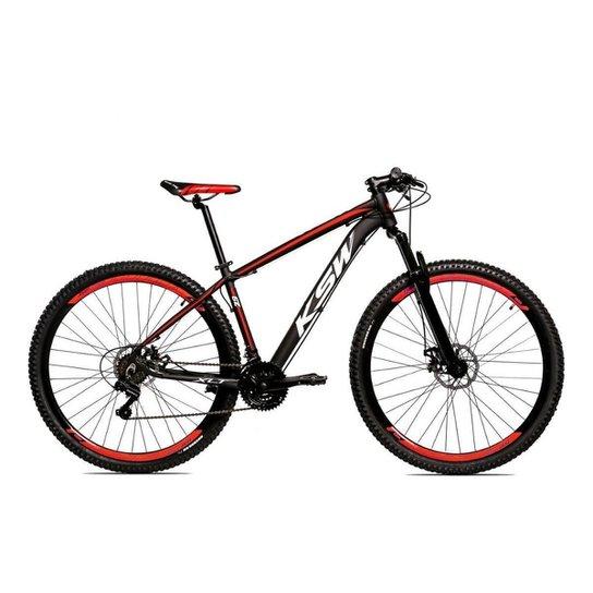 Bicicleta Alum 29 Ksw Cambios GTA 24 Vel A Disco Ltx Hidráulica - Preto+Vermelho