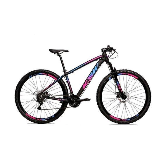 Bicicleta Alum 29 Ksw Cambios GTA 24 Vel A Disco Ltx Hidráulica - Azul+Rosa