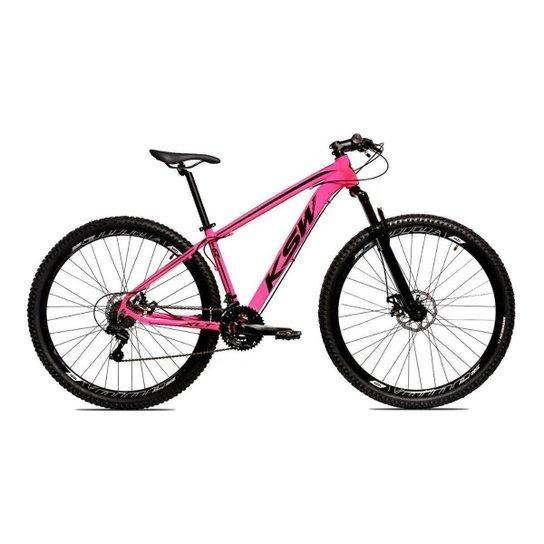 Bicicleta Alum 29 Ksw Cambios GTA 24 Vel A Disco Ltx Hidráulica - Rosa+Preto