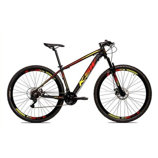Bicicleta Alum 29 Ksw Cambios GTA 24 Vel A Disco Ltx Hidráulica - Amarelo+Vermelho