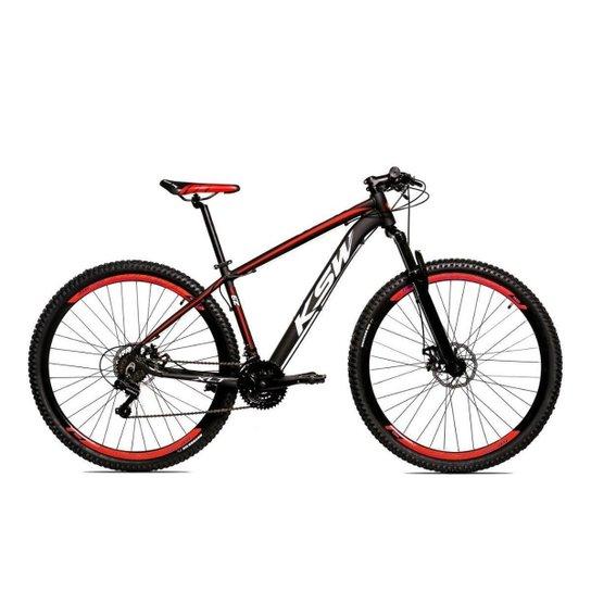 Bicicleta Alum 29 Ksw Cambios Gta 24 Vel A Disco Ltx - Preto+Vermelho