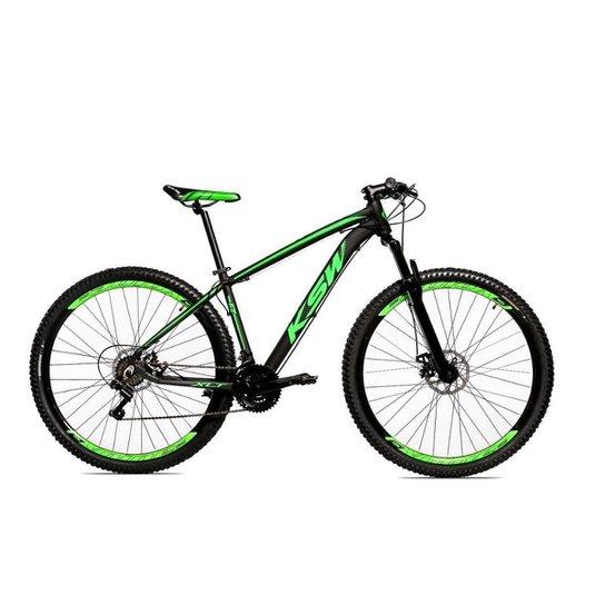 Bicicleta Alum 29 Ksw Cambios Gta 24 Vel A Disco Ltx - Preto+Verde Claro